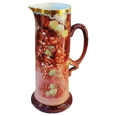 "Beautiful Vintage 13-3/8"" Jean Pouyat Limoges France 1900's Hand Painted ""Red Currant"" Berry Tankard by Pickard Artist, ""LeRoy"""