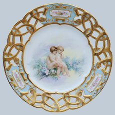 "Spectacular Vintage Limoges France Pre-1900 Hand Painted ""Putti's Sitting in a Rose Tree"" Reticulated Scenic 9"" Plate by Listed Artist, ""Adolphe Faugeron"