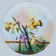 "Beautiful Bavaria & Caine's Studio of Akron, Ohio 1900's Hand Painted ""Yellow Daffodils & Purple Pansies"" 8-1/2"" Floral Plate, Artist Signed"