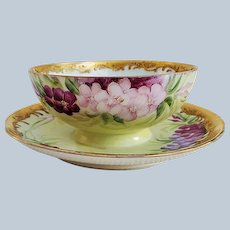 "Gorgeous GDA Limoges France 1900's Hand Painted ""Red, Pink, & Purple Violets"" Rococo Style Mayonnaise Dish & Underplate"