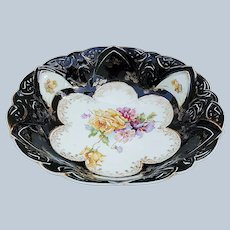 "Gorgeous RS Prussia 1900 ""Yellow Roses with Red & Purple Pansies"" Black Decor Bowl"