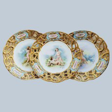 "Fabulous Vintage Limoges France Pre-1900 Hand Painted ""Putti's Sitting in a Rose Garden"" Reticulated Scenic 9"" Plate by Listed Artist, ""Adolphe Faugeron"