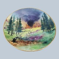 "Spectacular Vintage Bavaria 1900's Hand Painted ""Wild Forest Fire"" Scenic Plate by Pickard Artist, ""Carl Koenig"""