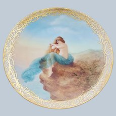 "Captivating Vintage Omhe Silesia 1900's Hand Painted ""Alluring Nude, on a Cliff, Gazing at the Ocean"" 9-3/8"" Scenic Plate, Artist Signed"