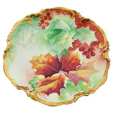 """Gorgeous Coronet Limoges France 1900's Hand Painted """"Holly & Berry"""" Fall Colors 8-7/8"""" Fancy Scallop Plate, Artist Signed"""