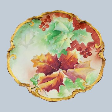 "Gorgeous Coronet Limoges France 1900's Hand Painted ""Holly & Berry"" Fall Colors 8-7/8"" Fancy Scallop Plate, Artist Signed"