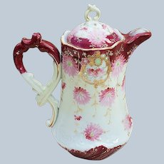 "Charming Vintage Nippon 1900's Hand Painted ""Pink Daisies"" 9-1/2"" Ornate Floral Chocolate Pot."