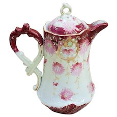 """Charming Vintage Nippon 1900's Hand Painted """"Pink Daisies"""" 9-1/2"""" Ornate Floral Chocolate Pot."""