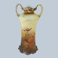 """Scare & Beautiful RS Prussia 1900 """"Bird of Paradise"""" Brown Tones Scenic Vase"""