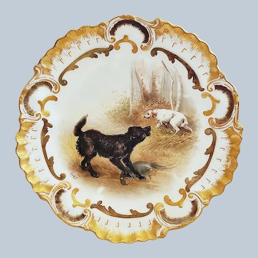 "Outstanding A. Lanternier Limoges France 1900 Hand Painted ""Two Hunting Dogs on a Pheasant Hunt"" 9-1/2"" Scenic Plate by Artist, ""DeWit"""