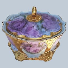"Stunning & Beautiful Bavaria 1900's Hand Painted ""Pink-Lavender Roses"" 6-1/2"" Lidded Dish"