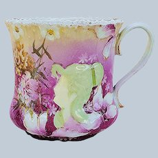 "Scarce & Stunning RS Prussia 1900's ""Hidden Image"" & Floral Purple Decor Scenic Scuttle Shaving Mug"