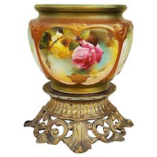"Spectacular Vintage Royal Worcester 1920's Hand Painted ""Red & Yellow Roses"" Floral Jardiniere by Listed Artist, ""Reginald (Harry) Austin"""