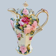 "Fabulous Vintage Bavaria 1900's Hand Painted ""Red & Pink"" 10"" Ornate Floral Chocolate Pot"