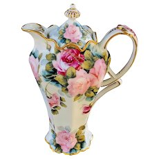 """Fabulous Vintage Bavaria 1900's Hand Painted """"Red & Pink"""" 10"""" Ornate Floral Chocolate Pot"""