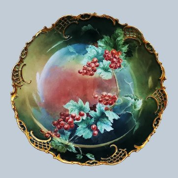 "Gorgeous 10-1/4"" TK Czechoslovakia 1920's Hand Painted ""Red Currant"" Floral Bowl"