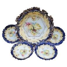 "Gorgeous Vintage RS Prussia 1900 Cobalt Blue ""Yellow Roses"" 5-Pc Floral Bowl & Berry Set"