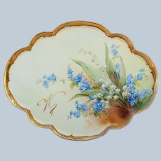 "Fabulous 12-3/4"" Vintage GDA France & Julius Brauer Studio of Chicago 1905 Hand Painted ""Lily of The Valley & Forget Me Not"" Floral Tray by Artist, ""Marie Brauer"""