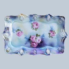 "Fabulous 12"" Vintage RS Prussia 1900's ""Red & Pink Roses"" Ribbon & Jewel Mold Lavender Satin Finish Floral Tray"