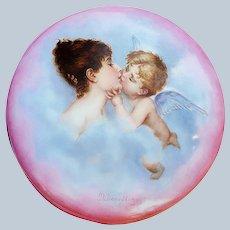 """Spectacular 7"""" Tressemann & Vogt Limoges France 1900's Hand Painted """"Lovers Cupid & Psyche"""" Scenic Dresser Casket by Artist, """"M. Doerflinger"""""""