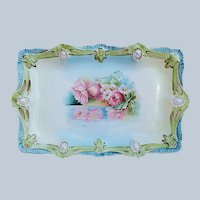 """Beautiful 11-3/4"""" Vintage RS Prussia 1900's """"Reflecting Poppies"""" Ribbon & Jewel Mold Floral Tray"""