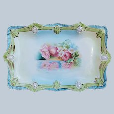 "Beautiful 11-3/4"" Vintage RS Prussia 1900's ""Reflecting Poppies"" Ribbon & Jewel Mold Floral Tray"