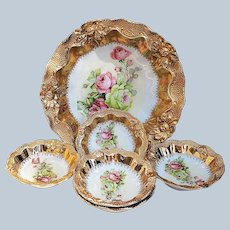 """Spectacular RS Prussia/OS Vintage 1900 """"Pink & Yellow-Green Roses"""" 6-Pc Floral Bowl & Berry Set"""