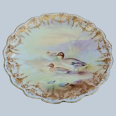 """Exquisite Royal Doulton 1902 Hand Painted """"Three English Green Wing Teal Ducks"""" 9"""" Scenic Plate by Artist, """"Charles Hart"""" Made for Bailey, Banks, & Biddle"""