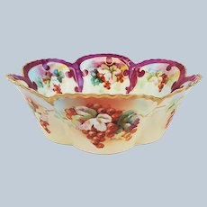 """Magnificent Haviland & D'Arcy's Studio 1900's Hand Painted """"Gooseberry"""" 9-1/4"""" Fruit Bowl by Highly Regard Artist, """"John Schindler"""""""
