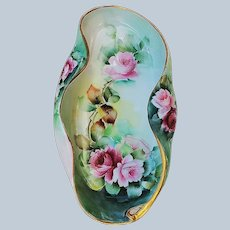 """Lavish Vintage La Seynie P.P. Limoges France 1900's Hand Painted """"Red & Pink Roses"""" Floral Flower Tray by Artist, """"S.& N."""""""