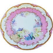"""Exquisite & Lavish Haviland France 1900's Hand Painted """"White Roses"""" with White & Gold Beading Floral Plate"""