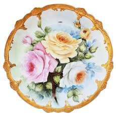 """Beautiful 13"""" Bavaria 1900's Hand Painted """"Pink, Yellow, & White Roses"""" Floral Charger by Artist, """"H. Reynolds"""""""