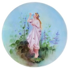 """Gorgeous Vintage Tressemann & Vogt Limoges France 1913 Hand Painted """"Victorian Maiden In Garden Smelling Purple Morning Glory"""" 11-5/8"""" Plaque by Artist, """"C.F. Pullis"""""""