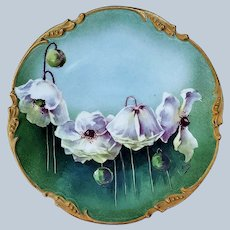 """Exquisite Vintage Jean Pouyat Limoges France 1906 Hand Painted """"White Orchids"""" Floral Plate by the Artist, """"Duval"""""""