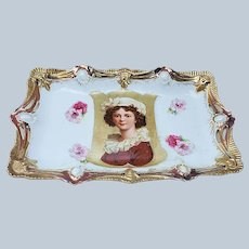 "Spectacular & Scarce RS Prussia 1900 ""Élisabeth Louise Vigée Le Brun"" Keyhole Ribbon & Jewel Portrait Tray"