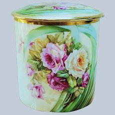"""Gorgeous Vintage Vienna Austria 1900's Hand Painted Vibrant """"Red, Pink, & Yellow Roses"""" Floral Humidor by the Artist, """"Fireher"""""""