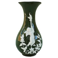 """Charming Vintage Germany 1900's """"Putti Carrying A Torch"""" Pate Sur Pate Scenic Vase"""