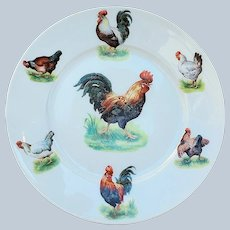 """Charming Vintage Germany C.T. Altwasser 1900 """"Rooster & Hens"""" 7"""" Scenic Barnyard Decor Plate"""