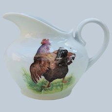 "Wonderful Vintage Germany C.T. Altwasser 1900 ""Hens & Rooster""Scenic Barnyard Decor Creamer"