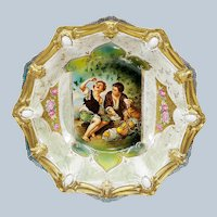 """Beautiful Vintage RS Prussia 1900 """"Melon Eater"""" 10-3/4"""" Ribbon & Jewel Mold Scenic Bowl"""