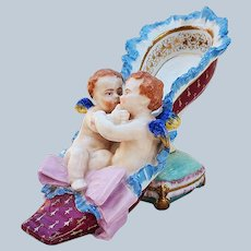 """Spectacular & Colorful Vintage Dresden Germany Pre-1900 Hand Painted """"Two Putti's Hugging"""" 9"""" Scenic Fancy Footed Slipper Shoe"""