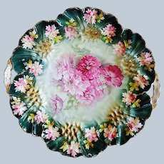 """Spectacular 11"""" RS Prussia 1900 """"Red & Pink Carnations"""" in Sunflower Mold Floral Plate"""