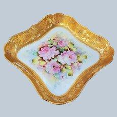 """Stunning Vintage La Porcelain Limoges France 1900 Hand Painted """"Pink Roses"""" 10-1/4"""" Floral Bon-bon Bowl by Artist, """"MBLR"""""""