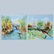 """Attractive Wheeling Pottery Co., 1920-30's Hand Painted Pair of """"Summer Countryside"""" 6"""" x 6"""" Scenic Tiles by the Artist, """"P.K."""""""
