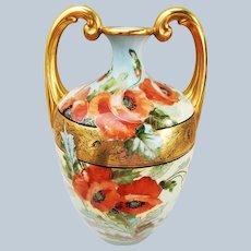 "Magnificent 13-1/2"" Jean Pouyat Limoges France 1900's Hand Painted Vibrant ""Burnt Orange Poppy"" Floral Vase by the Artist, ""Kimmel"""