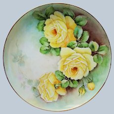 """Beautiful Bavaria 1900's Hand Painted Large """"Yellow Roses"""" 10"""" Floral Plates by the Artist, """"Sparks"""""""