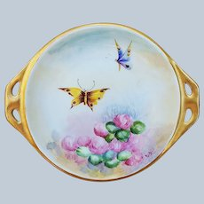 """Beautiful Vintage Germany 1910 Hand Painted """"Pink Snowballs & Butterflies"""" 6-5/8"""" Floral & Scenic Candy Dish by Artist, """"E.B"""""""