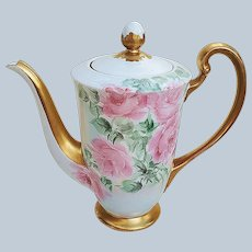 """Beautiful & Decorative 1950's Hand Painted """"Red & Pink Roses"""" Floral Tea Pot"""