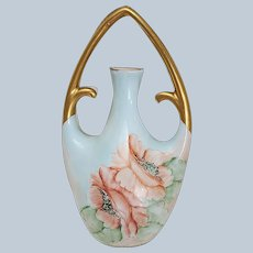 """Charming Vintage Bavaria 1900's Hand Painted """"Peach Roses"""" 6-1/2"""" Floral Vase with a Hanging Carry Handle"""