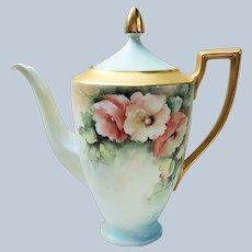 "Gorgeous H & Co. Selb Bavaria 1940-50's Hand Painted ""Peach & White Poppy"" 10-1/2"" Floral Tea Pot by Artist, ""June Power"""